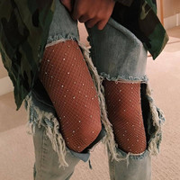 Hot Sale Fashion Fish Net Diamond Bling Bling Tights Stockings