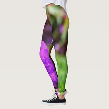 Personalized Leggings, Purple Flowers Leggings