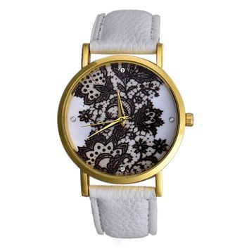 Women Round Lace Printed Faux Leather Quartz Analog Dress Wrist Watch