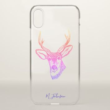 Personalized Rainbow Deer iPhone X Case