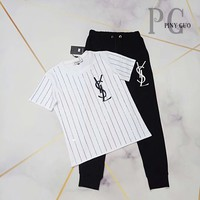 YSL Women Letter Print Short Sleeve Top Pants Two-Piece