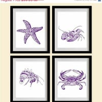 ON SALE Starfish & Shell Creatures Art Prints - Indigo, Marine, White - Set of 4 - 8X10 - Starfish, Lobsters, Crabs, Hermit Crab - No. 013-
