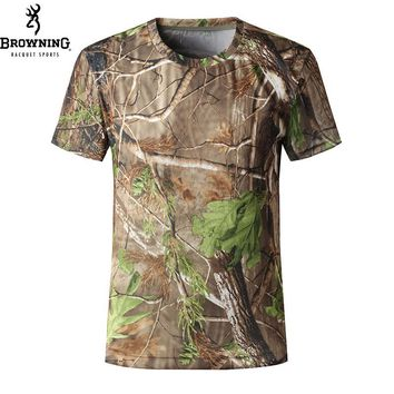 Browning fishing t shirt men outdoor hunting shirt breathable Military camouflage t-shirt Airsoft Tactical coolmax brand shirts