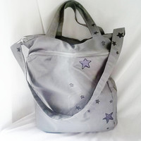 Grey Tote  Hand painted tote bag with zippered outer by ACAmour