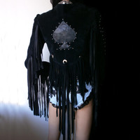 Ace of Spades black suede jacket with extra long fringes, studded details and silver conchos