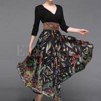 Stylish Stitching High Waist Maxi Dress