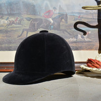 Vintage Horse Riding Helmet - Black Velvet Equestrian Cap – Millers Safety Crown -  English Riding Hat - Steampunk Hat