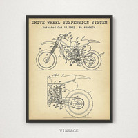 Sports Bike Patent, Drive Wheel Suspension System, Motorcycle Wall Art, Vintage Motorcycle Blueprint Art, Boys Room Decor, Man Cave Gifts