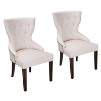European Style Armless Living Room Side Chair / Dining Chair Cream Fabric (Set of 2)