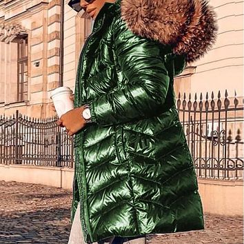 Hooded Fur Metallic Puffer Coat