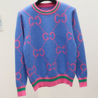 GUCCI 2018 autumn and winter new double G letter knit round neck pullover sweater Blue
