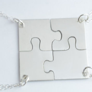 Set of Four Sterling Silver Hand Cut Puzzle Piece Necklace Set, Bridesmaids Jewelry, Best Friends Jewelry, by Miss Ashley Jewelry