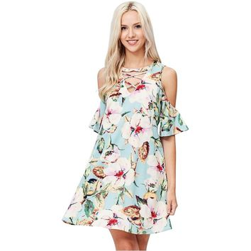 Tropical Floral Print Cold Shoulder Dress
