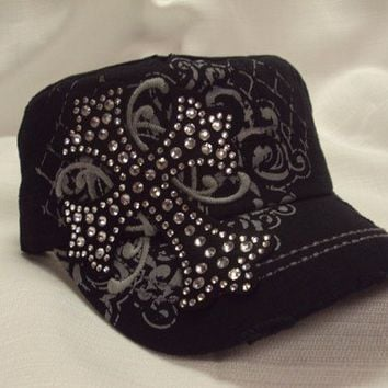 Sassy Strands Bling Hats - Black/Cross