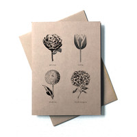 Set of 8 Botanical Illustrations Stationery - Nature Prints - Kraft Paper Folded Note Cards and Envelopes - Eight Blank Rustic Note Cards