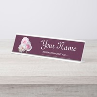 Three pink roses. Add your text. Desk Name Plate