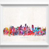 Leeds Skyline Print, England Poster, Leeds Cityscape, United Kingdom Art, City Painting, Living Room Decor, Christmas Gift