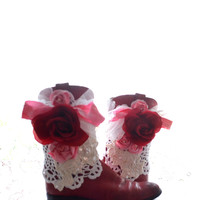 Vintage cowboy boots, women's red Rustic boots, Bridal wedding, Country Farmhouse shabby rose Embellished boots, True rebel clothing