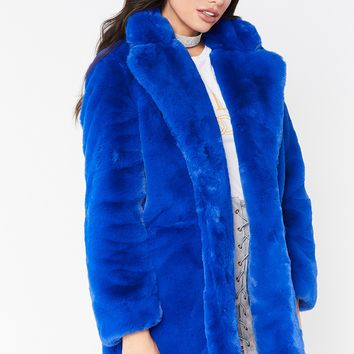 ariana blue premium faux fur jacket