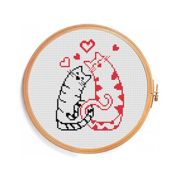 Love Cats Cross Stitch Pattern
