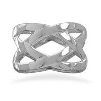 Rhodium Plated Weave Design Ring