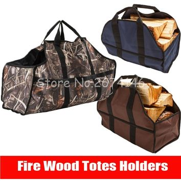 Large capacity Canvas Logs Carrier Fire Wood Totes Holders Firewood carrier Tote Bag holders Carrying for Fireplace toolkit