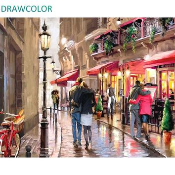 DRAWCOLOR Frame Street DIY Painting By Numbers Kits Acrylic Paint On Canvas Modern Wall Art Picture For Home Decoration 40x50cm