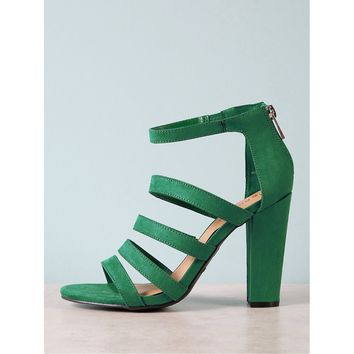 Faux Suede Strappy Open Toe Chunky Heel