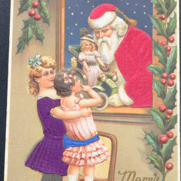 Silk Santa Postcard Christmas