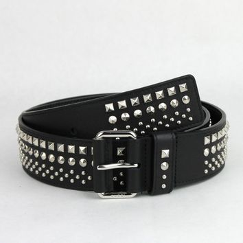 Gucci New  Black Studded Leather Belt with Silver Buckle