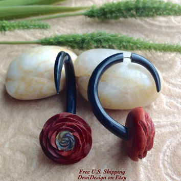 "Faux Gauges, ""Rosebud"" Naturally Organic, Saba Wood, Paua Shell, Horn, Hand Carved, Tribal"