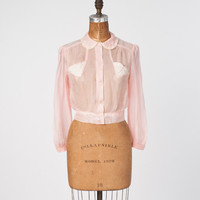 Vintage 1930s Pink Silk Blouse: Cropped Sheer Shirt Top, Lace Pockets & Trim, Spring Summer