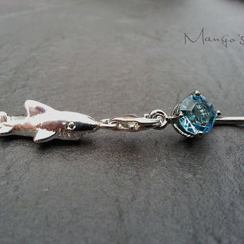 Shark Belly Button Ring Jewelry- Navel Piercing Charm Dangle Bar Barbell- B061