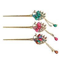 Chinese Traditional Hairpin Classical Retro Elegant Hair Pin Colorful Rhinestone Hair Stick Hair Accessories Tiara haarspeld