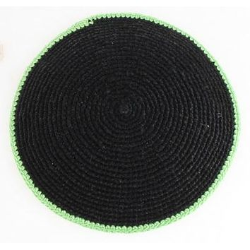 C KNITTED FLAT DMC KIPPAH 9 CM- BLUE  WITH GREEN AROUND