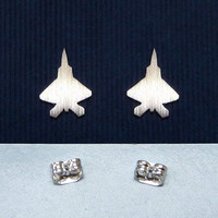 A sterling silver F-22 Rapto ear studs, a everyday jewelry, a gift for her, a mother's day gift, aircraft earstuds
