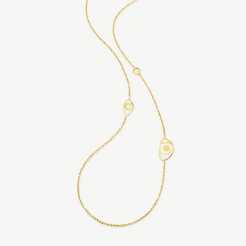 FOLLI FOLLIE FF Talisman yellow gold-plated and white enamel eye long necklace
