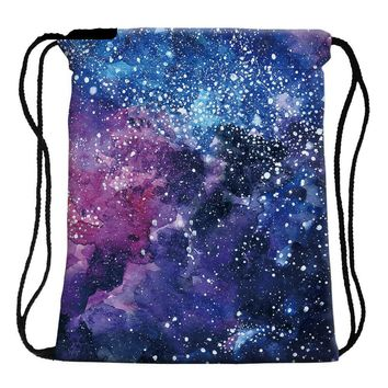 Galaxy Celestial Star Universe Drawstring Bags Cinch String Backpack Funny Funky Cute Novelty