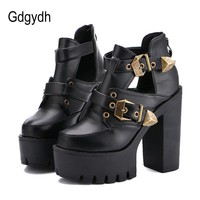 Gdgydh 2017 Spring Autumn Women Pumps Round Toe Platform Thick High Heels Women Shoes