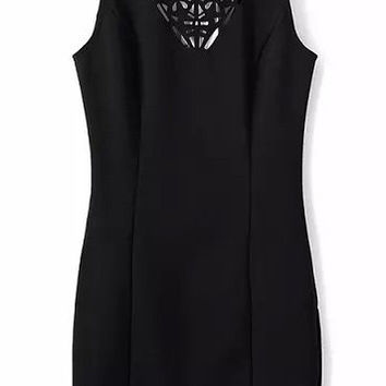 Black Sleeveless Cut-Out Backless Bodycon Dress