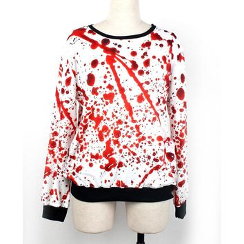 Novelty Printed Long Sleeve Bloody Costume Pullover Sweatshirt Tops Blouse