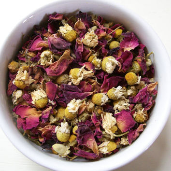 Chamomile Rose  / 100% Organic Herbal Tea Blend / Hand Blended / No Flavors Added / Caffeine Free