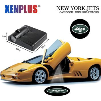 Xenplus 2pcs Car Door Welcome Lights for New York Jets Logo LED Wireless Laser Projector NFL Decoration Ghost Shadow Batman