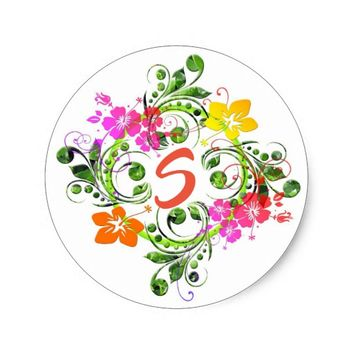 Hibiscus flower wreath sticker