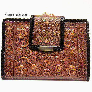 Vintage Madrid Tooled Leather Wallet Clutch, Brown Embossed Leather