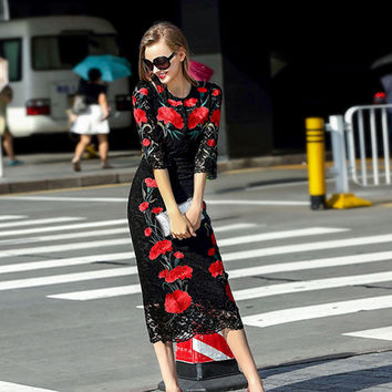 Red Flower Midi Dress