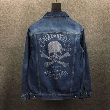 Men's Denim Jacket skull Spring Autumn Streetwear skull