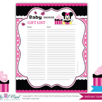 Girl Minnie Mouse Guest Gift List , Guest Sign in Sheet Card for Baby shower, birthday  Minnie Mouse  DIY Black Pink  Polka- oz09bs53