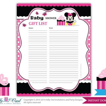 Girl Minnie Mouse Guest Gift List , Guest Sign In Sheet Card For Baby Shower ,  Printable Baby Shower Guest List