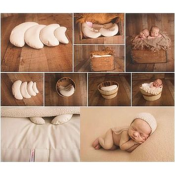 3PCS/Set PU Leather Baby Photography Costume Moon Posing Props Baby Pillows Newborn Photography Props Basket Filler Fotografia